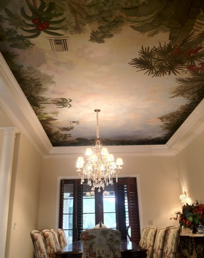 Decorative ceiling mural painting and scenic design wall murals by